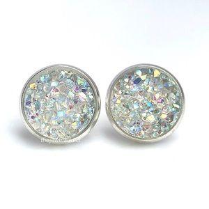 3/$15🎀crystal rainbow faux druzy earrings